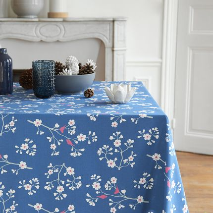 Kitchen fabrics - Wipeable tablecloth Petrol Blue Cherry tree - FLEUR DE SOLEIL
