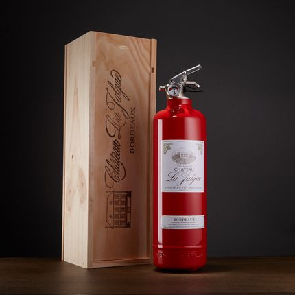 Stemware - Designer fire extinguisher wine with wooden box - FIRE DESIGN