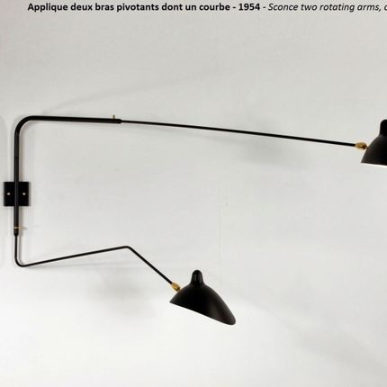 Wall lamps - Wall lamp 2 arms 1 curved - EDITIONS SERGE MOUILLE