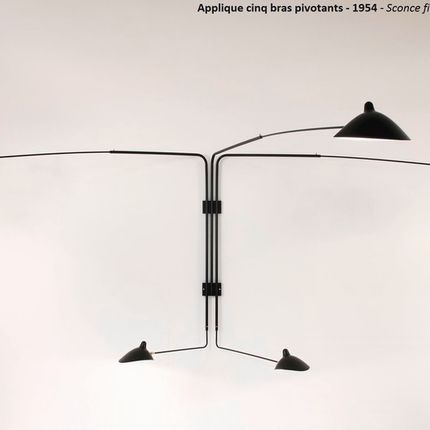 Wall lamps - Wall lamp 5 swivel arms. - EDITIONS SERGE MOUILLE