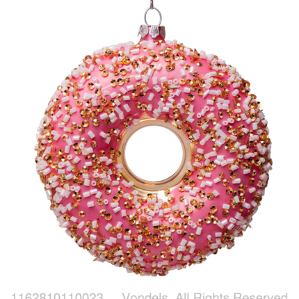 Christmas decoration - ORNAMENT GLASS BROWN DONUT W/DECORATION H11CM - VONDELS AMSTERDAM