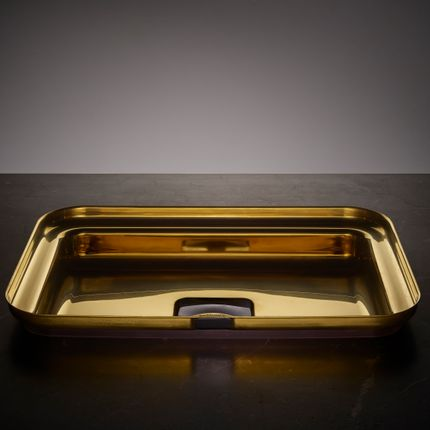 Spas - NARCIS rectangular shiny brass, black plug - BASSINES