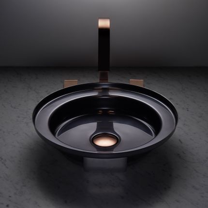 Spas - NARCIS round shiny black, copper plug - BASSINES