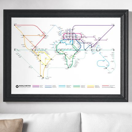 Affiches - Affiche 70 x 50 cm - World Metro Map - Olivier Bourdereau - WALL EDITIONS