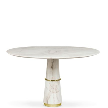 Tables - AGRA round marble dining table - BB CONTRACT