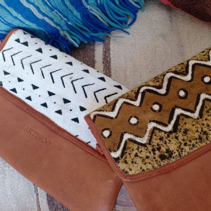 Clutches - Leather-bogolan Clutch - ARTINOO