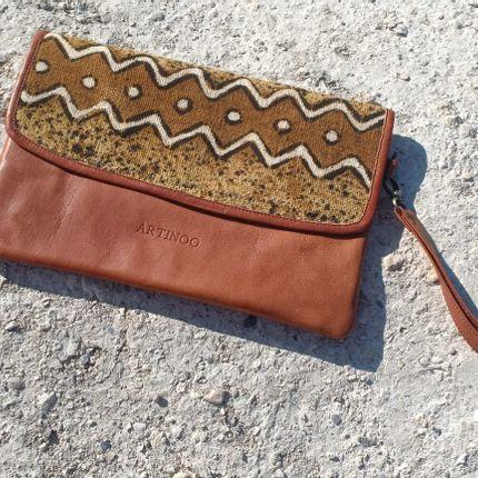 Clutches - Leather-bogolan Clutch - ARTINOO