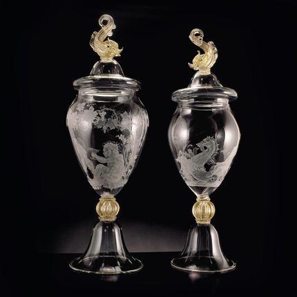 Verre d'art - Vase en verre de Murano gravé - SEGUSO GIANNI