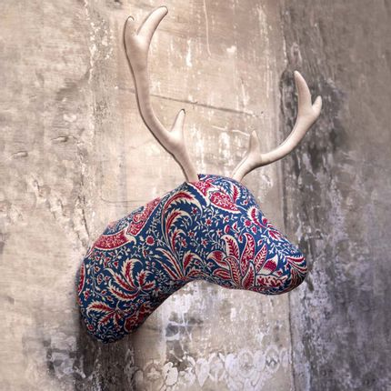 Objets déco - Soft Deer Blue Ibiscus - Tête d'animal - SOFTHEADS