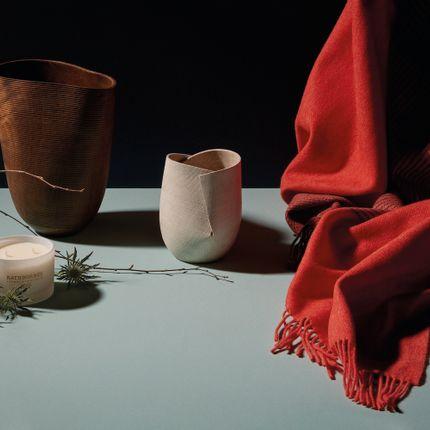 Plaids - John Hanly & Co. (throw), Alan Meredith Studio (sculptural vessels) - DESIGN IRELAND
