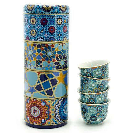 Tea / coffee accessories - Tin box with cups - IMAGES D'ORIENT
