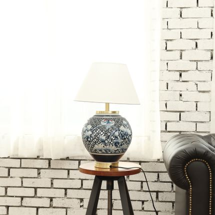 Table lamps - Blue and White Ware Circle Lamp with Openwork - Seoul Collect