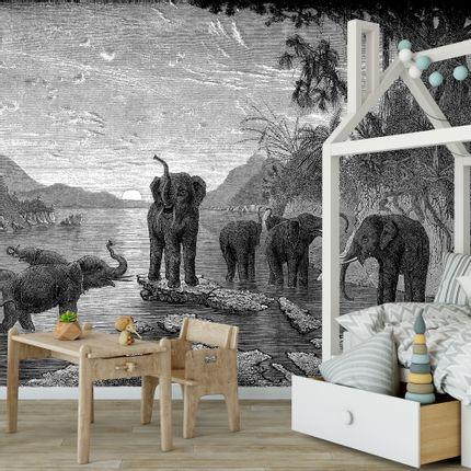 Papiers peints - Papier Peint Panoramique Gravure - Les Eléphants - CIMENT FACTORY