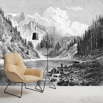 Wall decoration - Panoramic Engraving Wallpaper - Montana - CIMENT FACTORY