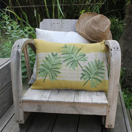 Cushions - Embroidered linen cushion Tie & Dye Tropical - EN FIL D'INDIENNE...