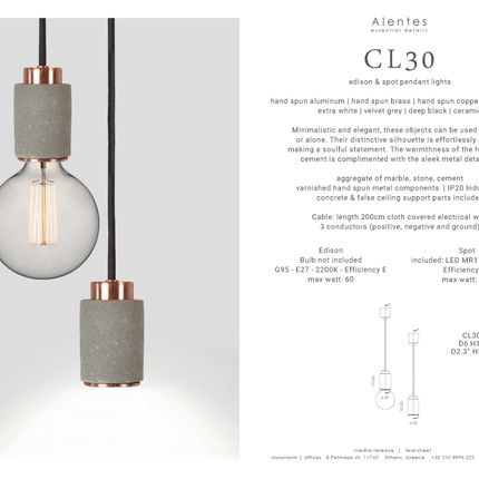 Objets design - CL30 Pendant Light - edison & spotlight - ALENTES