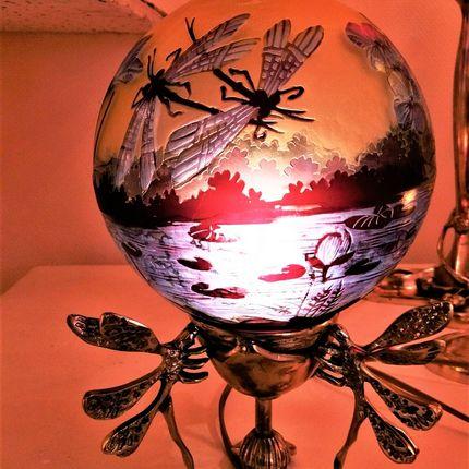 Lampes de table - Lampes en verre gravé, style Gallé, Art Nouveau, verre gravé multicouches - TIEF