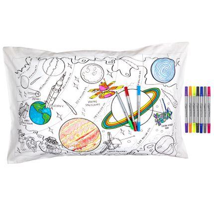 Chambres d'enfants - taie d'oreiller – exploration de l'espace - EATSLEEPDOODLE