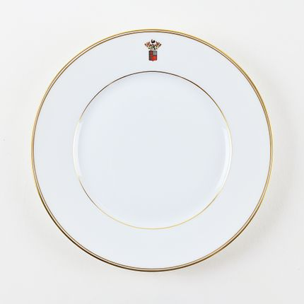 Formal plates - The matt gold ELEGANCE dinner plate with coat of arms - ALAIN BABULE