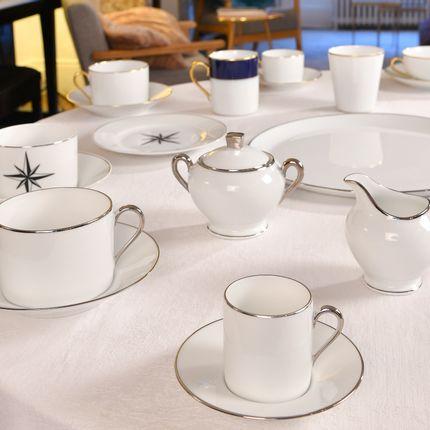 Tasses et mugs - La tasse café ELEGANCE platine brillant - ALAIN BABULE