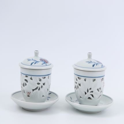Tea / coffee accessories - Blue and White Ware with Openwork Tea Cup Set for Duo - Seoul Collect