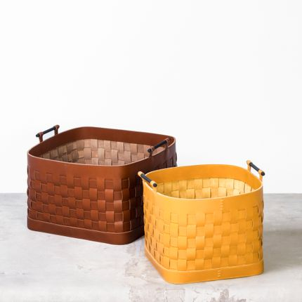 Decorative accessories - LEATHER WOVEN BASKETS & BOXES - RABITTI 1969 BY GIOBAGNARA
