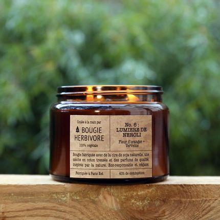 Bougies - No. 6 : LUMIERE DE NEROLI - Fleur d'oranger + Verveine - Double Mèche - LA BOUGIE HERBIVORE
