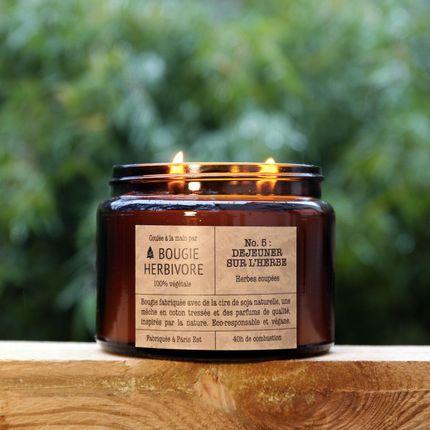 Bougies - No. 5 : DEJEUNER SUR L'HERBE - Herbes coupées - Double Mèche - LA BOUGIE HERBIVORE