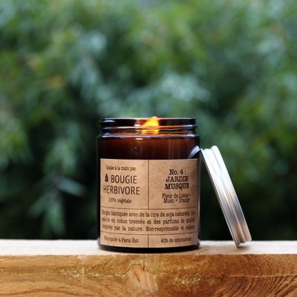 Candles - No. 4 : JARDIN MUSQUE - Lotus Flower + Musk + Orange - Medium - LA BOUGIE HERBIVORE