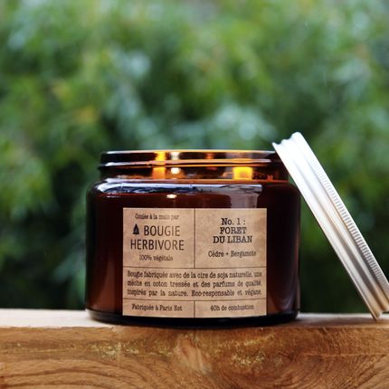 Candles - No. 1 : FORET DU LIBAN - Cedar + Bergamot - Double Wick - LA BOUGIE HERBIVORE