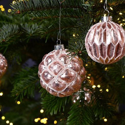 Christmas decoration - Christmasball with glitter, pink/silver color, 4 assorted,  8 cm Ø - WURM G. GMBH + CO. KG