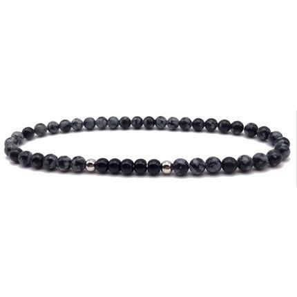 Bijoux - Bracelet perle Obsidienne - Onyx - .POLYGON