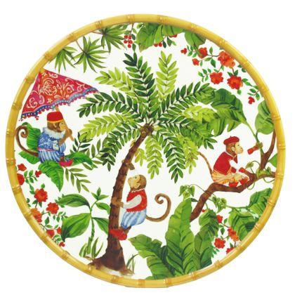 Plats/saladiers - Plat Rond Bali en pure mélamine - LES JARDINS DE LA COMTESSE