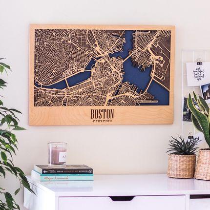 Décoration murale - Carte de la ville de Wood, fait main - ENJOYTHEWOOD