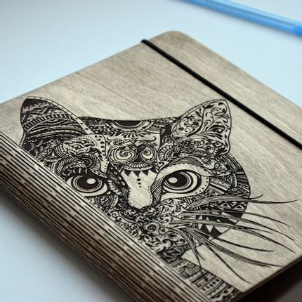 Office supplies - Wood Cover Notebook / Journal / Cookbook / Photo Album - ENJOYTHEWOOD