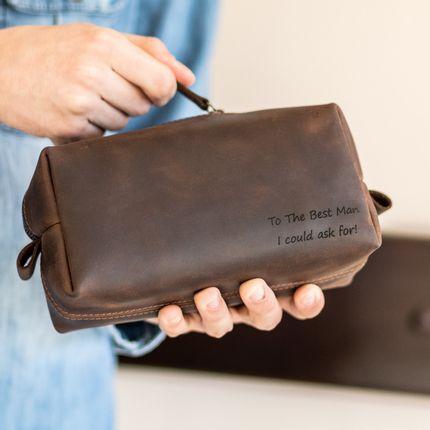 Leather goods - Leather Toiletry Bag, handmade - ENJOYTHELEATHER