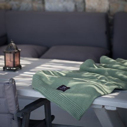 Throw blankets - Eco-designed Wool Blanket Emerald - LA MAISON DE LA MAILLE