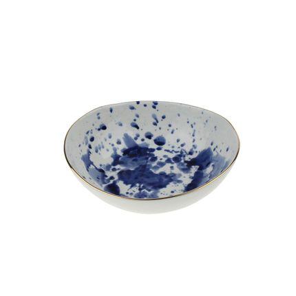 """Plats/saladiers - Plat à légumes """"Marine Splash"""", bleu-blanc-doré, porcelaine - WERNER VOSS"""