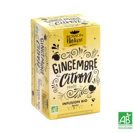Café / thé - Infusion Gingembre Citron Bio        - ROMON NATURE