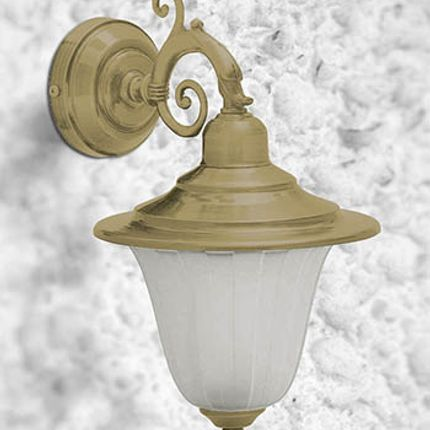 Wall lamps - Brass Dolphin arm wall light applique with frosted glass 307 - ANDROMEDA LIGHTING