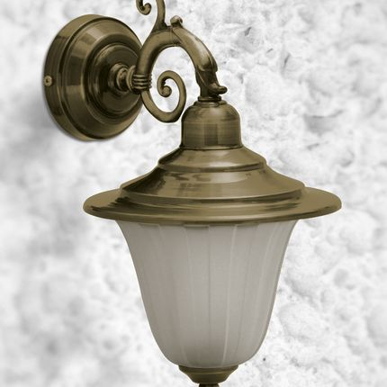 Appliques - Brass Dolphin arm wall light applique with frosted glass 307 - ANDROMEDA LIGHTING