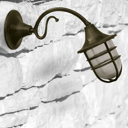 Wall lamps - Wall Light with brass rosette and brass arm and bulkhead light 96 - ANDROMEDA LIGHTING