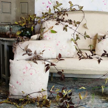 Cushions -  Rose Poudre Grand coussin lin  - ILLUSTRE