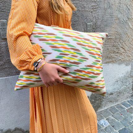 Cushions - Primrose Silk Ikat Luxurious Heritage Style Cushion - HERITAGE GENEVE