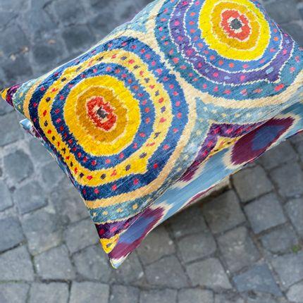 Cushions - Floral Silk / Ikat Heritage Style Multicolour Cushion - HERITAGE GENEVE