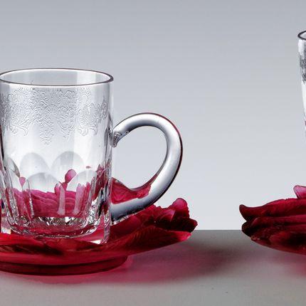 Crystalware - SET 6 TEA CUPS + MOLTEN GLASS SAUCERS FLORALE   RED - CRISTAL DE PARIS