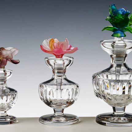 Crystalware - FOOTED ROUND PERFUME BOTTLE (S) WITH PATE DE VERRE LID (80 ML) - CRISTAL DE PARIS