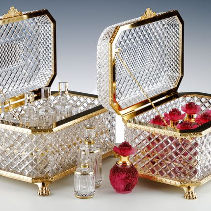 Crystalware - LUXURY FRANGRANCE BOX KING GEORGES + 6 PERFUME BOTLLE (10 ML) | RED - CRISTAL DE PARIS