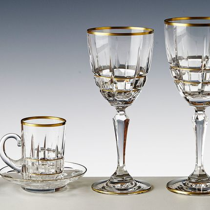 Stemware - SET 6 STEM GLASSES # 2 JOSE GOLD - CRISTAL DE PARIS