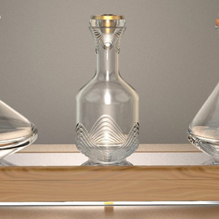 Wine -  The Majestic TRILOGY - Bart Table with Three exclusive decanters - SHAZE LUXURY RETAIL PVT LTD